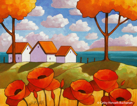 Red Poppies Ocean View, Coastal Landscape Modern Folk Art Print Giclee
