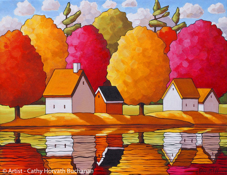 Fall Trees River Reflections Art Print, Autumn Colors Giclee