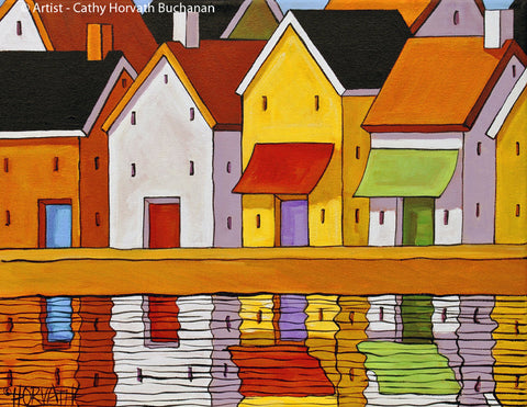 Town Pier Reflections Folk Art Print, Village Harbor Shops Giclee