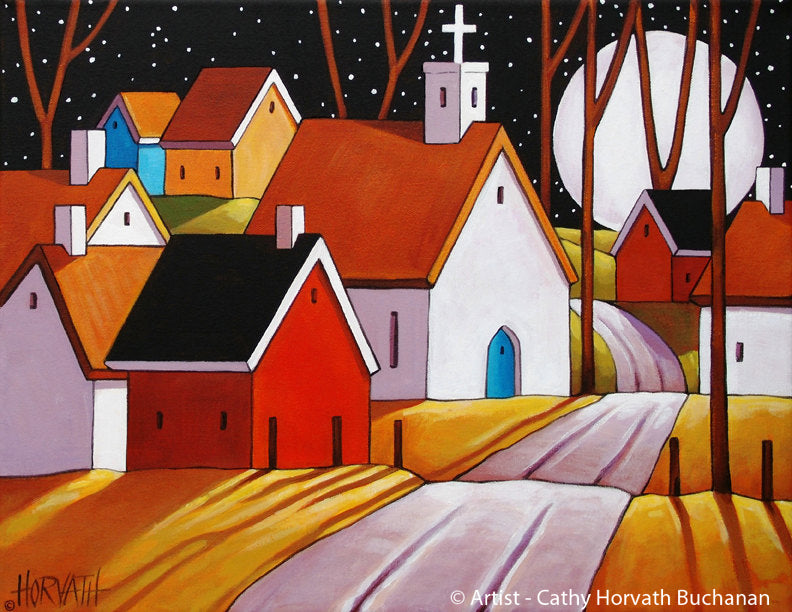 Halloween Autumn Town Moon Road Folk Art Print, Fall Night Village Giclee