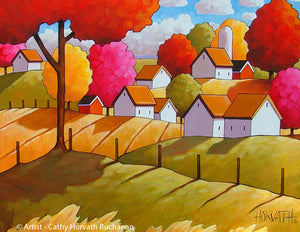 Country Rolling Fields Farm House, Folk Art Print, Rural Fall Giclee