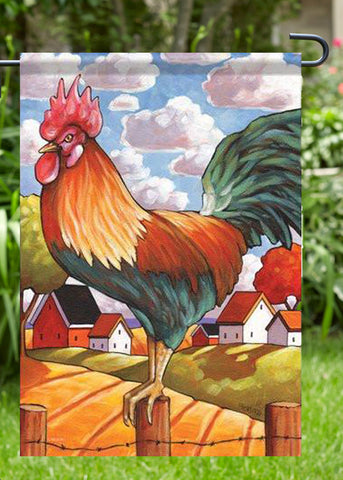 Country Rooster Garden Flag, Outdoor UV Resistant, Double-Sided
