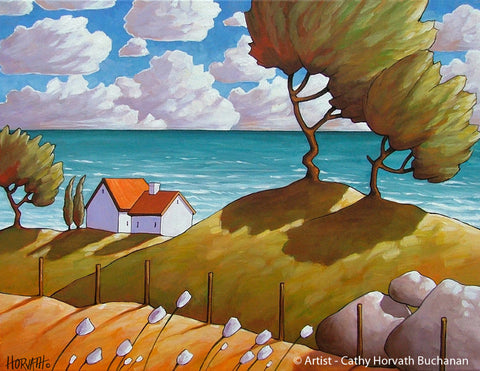 Seaside Winds Folk Art Print, Coastal Summer Seascape Giclee Artwork