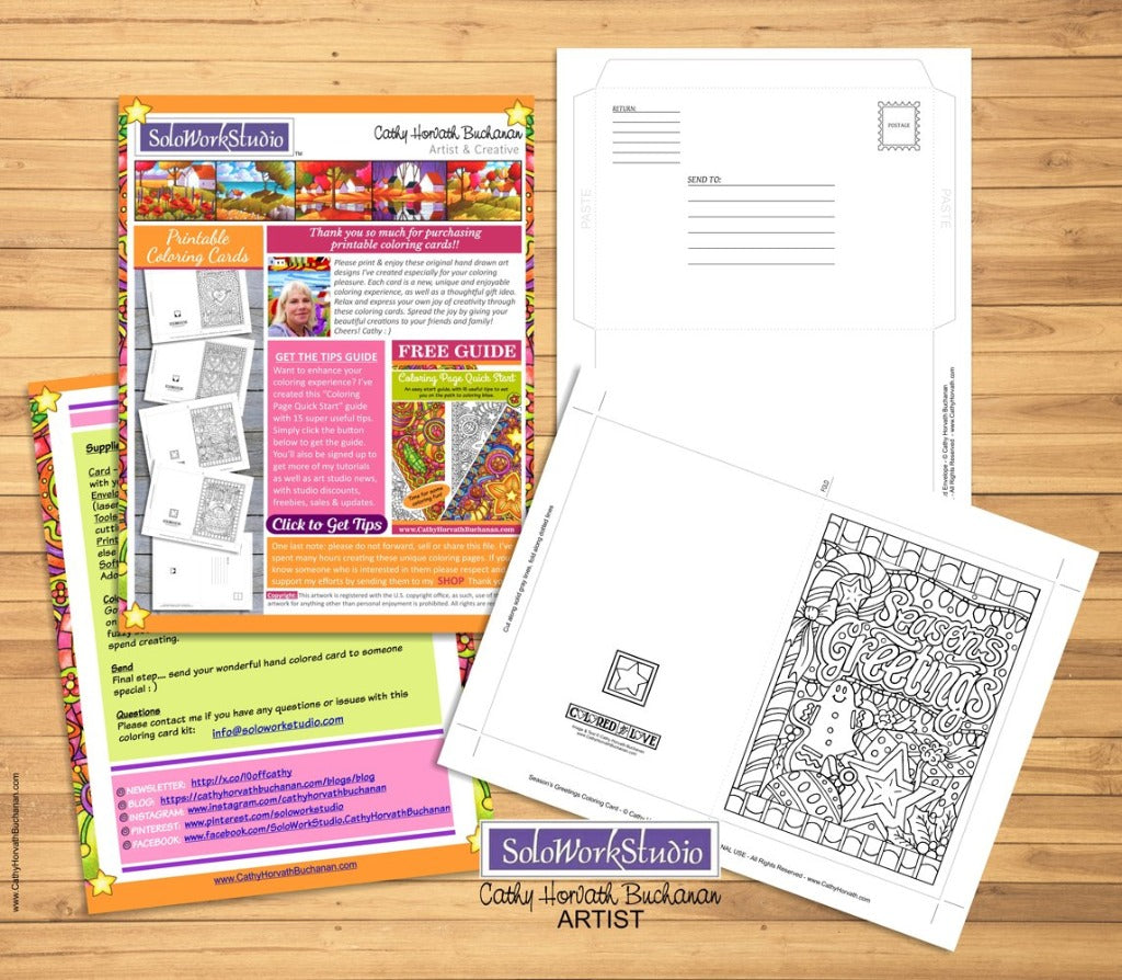 Seasons Greetings Coloring Card Kit, Card + Envelope PDF Download Printable by Cathy Horvath Buchanan