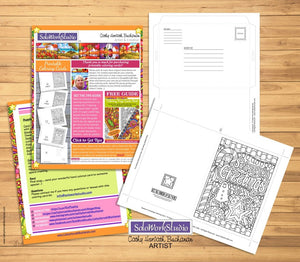 Seasons Greetings Coloring Card Kit, Card + Envelope PDF Download Printable