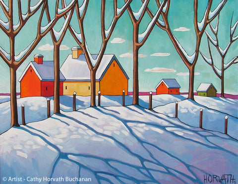 Winter Snow Tree Shadows, Seasonal Folk Art Print, Holiday Decor by cathy horvath buchanan