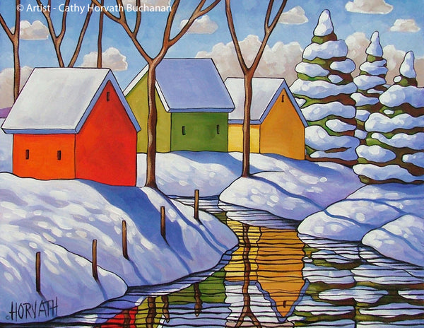 Snowy Stream Winter Reflection Art Print, Christmas Day Landscape Gift