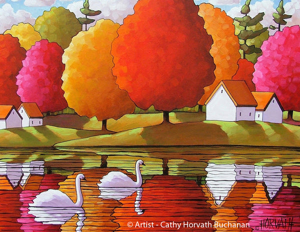 White Swans Colorful Water Reflections Art Print, Modern Folk Wall Home Decor