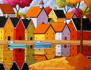 Town Harbor Reflection Art Print, Waterside Village & Boats Landscape Giclee