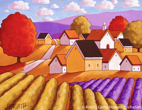 Town Vineyard Lavender Print, Country Fields Giclee Wall Decor