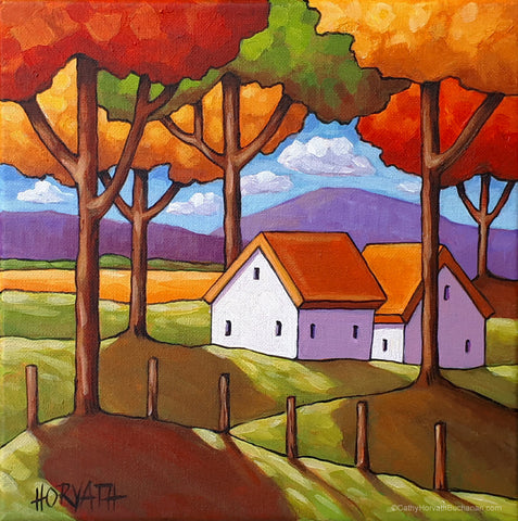 Cottage Trees Original Painting, Colorful Folk Art Scenic Landscape 10x10
