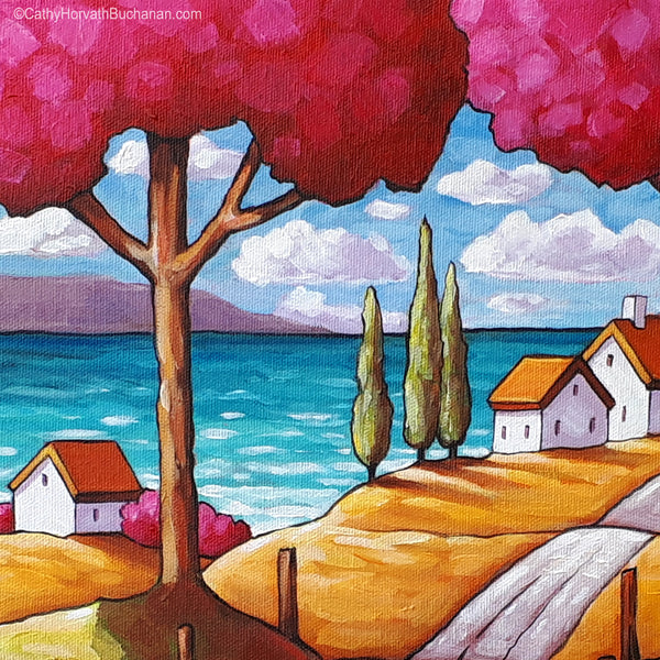 Beach Road Trees Original Painting, Folk Art Coastal Landscape 12x12