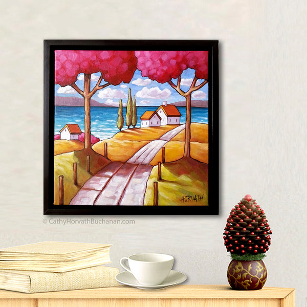 Two Pink Trees Beach Road Framed Original Painting, Folk Art Coastal Landscape 12x12