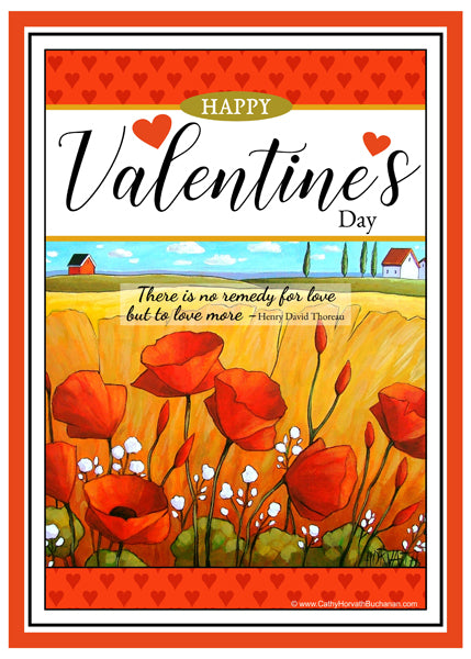 Valentines day poppies printable wall art. Romantic home & office decor as instant digital file downloadable art
