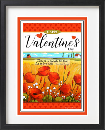 Valentines printable wall art  with red poppies and quote by Cathy Horvath Buchanan