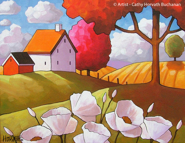 Country White Blooms Fields Folk Art Print, Modern Farmhouse Decor