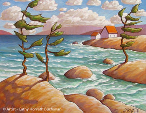 Windy Waves North Lake Art Print, Coastal Cottage Seascape Artwork