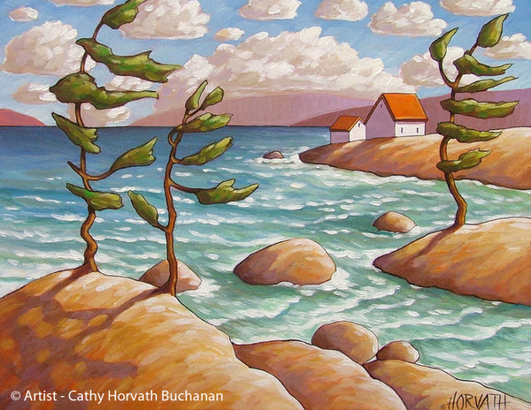 Windy North Lake Art Print, Coastal Cottage Seascape Artwork