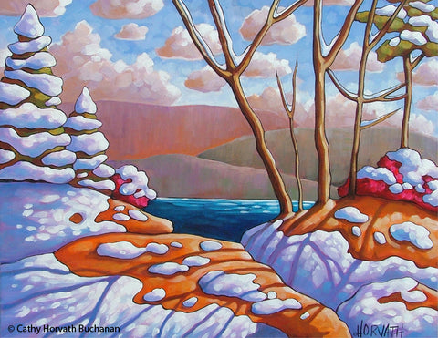 Winter Lake Snow Shadows Landscape, Giclee Art Print