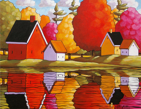 Autumn Cottage River Reflections, Fall Cabins with Colorful Trees, Folk Art Print Modern Landscape, Reproduction Giclee Artwork - SoloWorkStudio  - 1