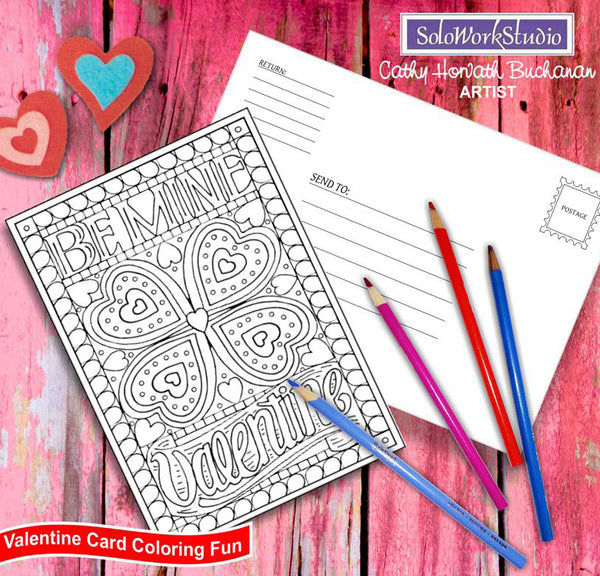 be my valentine coloring card kit by artist Cathy Horvath Buchanan