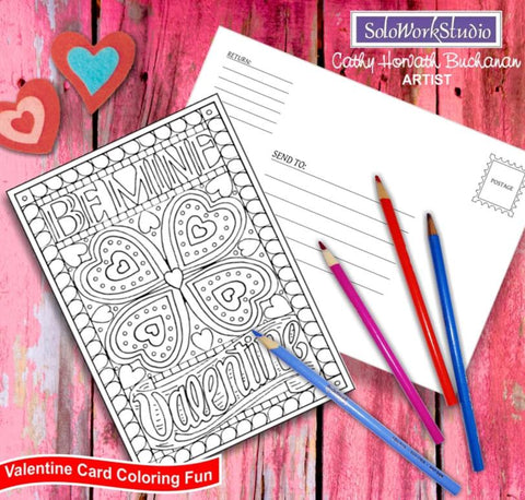 be my valentine coloring card printable kit download