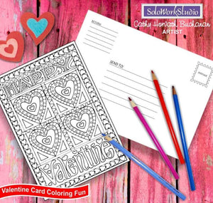 Be My Happy Valentine, Coloring Kit Card + Envelope, PDF Instant Download by Cathy Horvath Buchanan