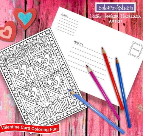 Be My Happy Valentine, Coloring Kit Card + Envelope - PDF Instant Download