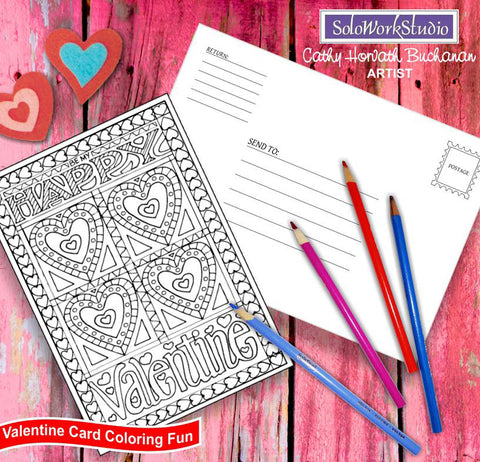 happy valentines day coloring card kit by artist Cathy Horvath Buchanan