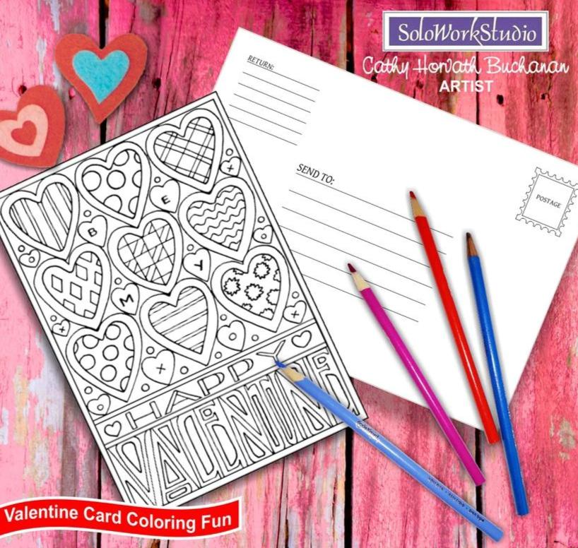 Be My Happy XO Valentine, Coloring Kit Card + Envelope, PDF Instant Download by Cathy Horvath Buchanan