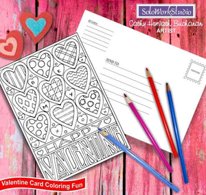 Be My Happy XO Valentine, Coloring Kit Card + Envelope, PDF Instant Download