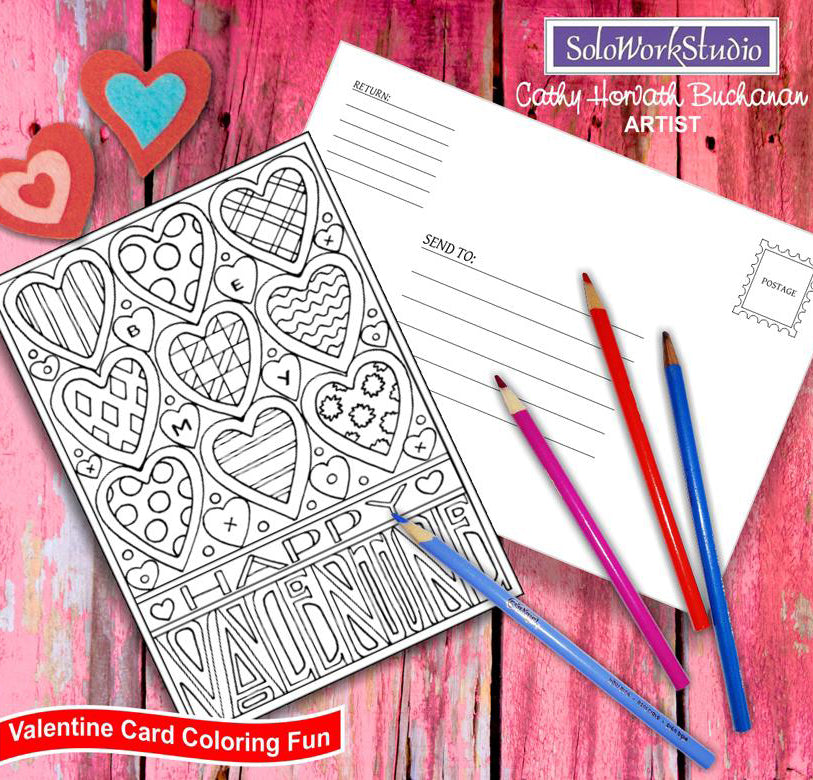 happy valentine coloring card kit by artist Cathy Horvath Buchanan
