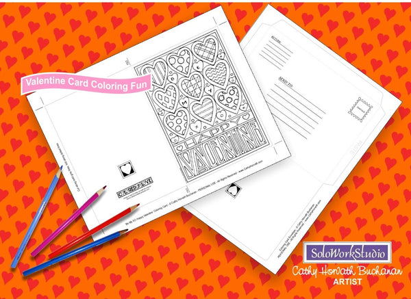 Valentine 4 pack Coloring Card Kit + Envelope, Instant Printable PDF by Cathy Horvath Buchanan