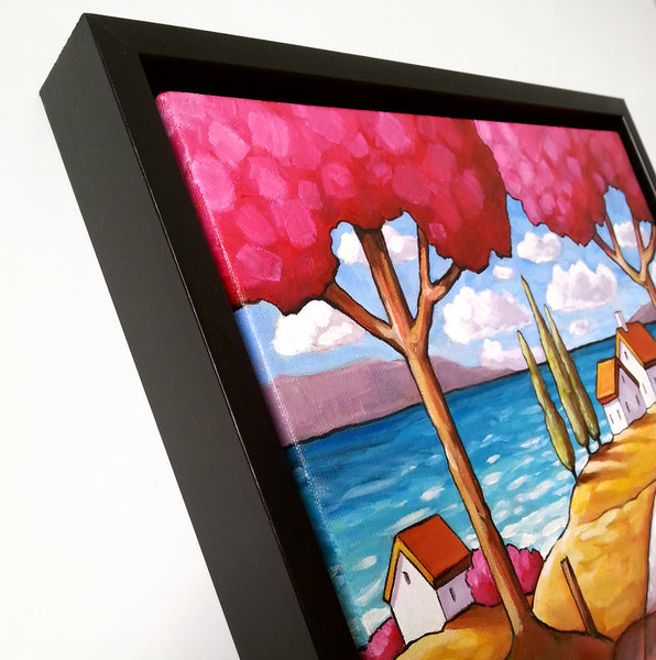 Beach Road Trees Framed Original Painting, Folk Art Coastal Landscape 12x12