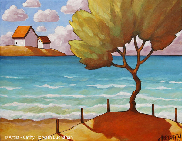 Beach Tree Seaside Summer Art Print, Lake Cottages Coastal Folk Art