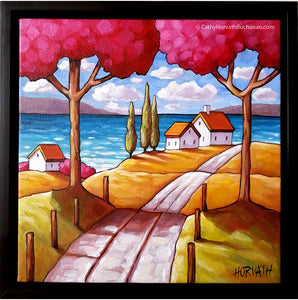 beach road landscape original painting by artist Cathy Horvath Buchanan