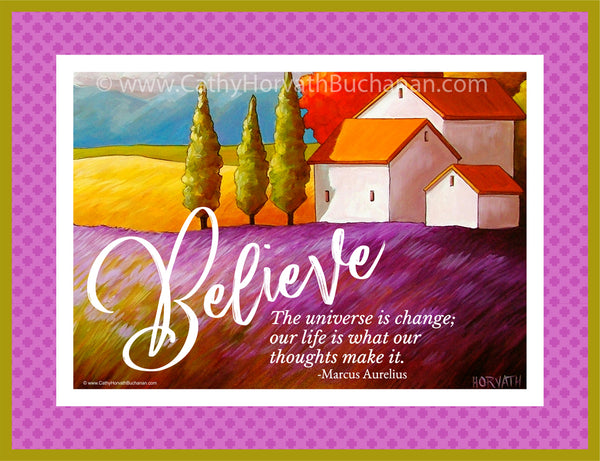 Believe, Inspirational Quote Wall Art Printable with Guide
