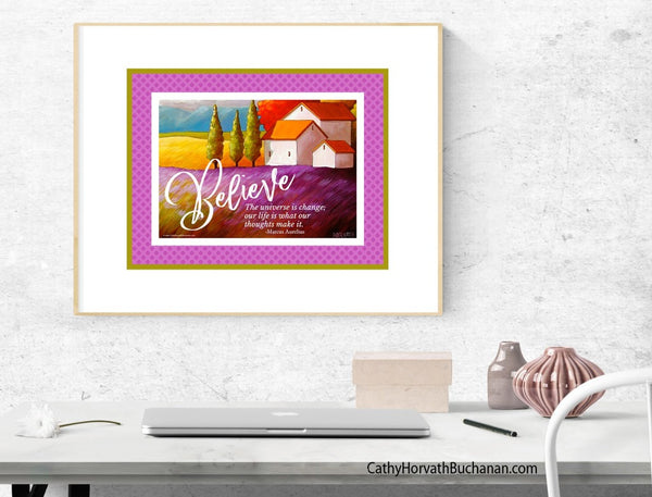 Believe collection quote art printables, Set of 4 wall art download