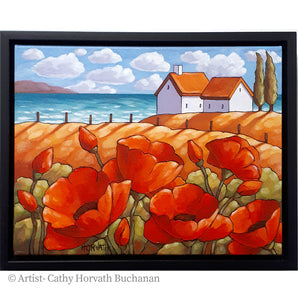 Red Poppies Seaside Framed Original Painting, Summer Flower Lake 11x14