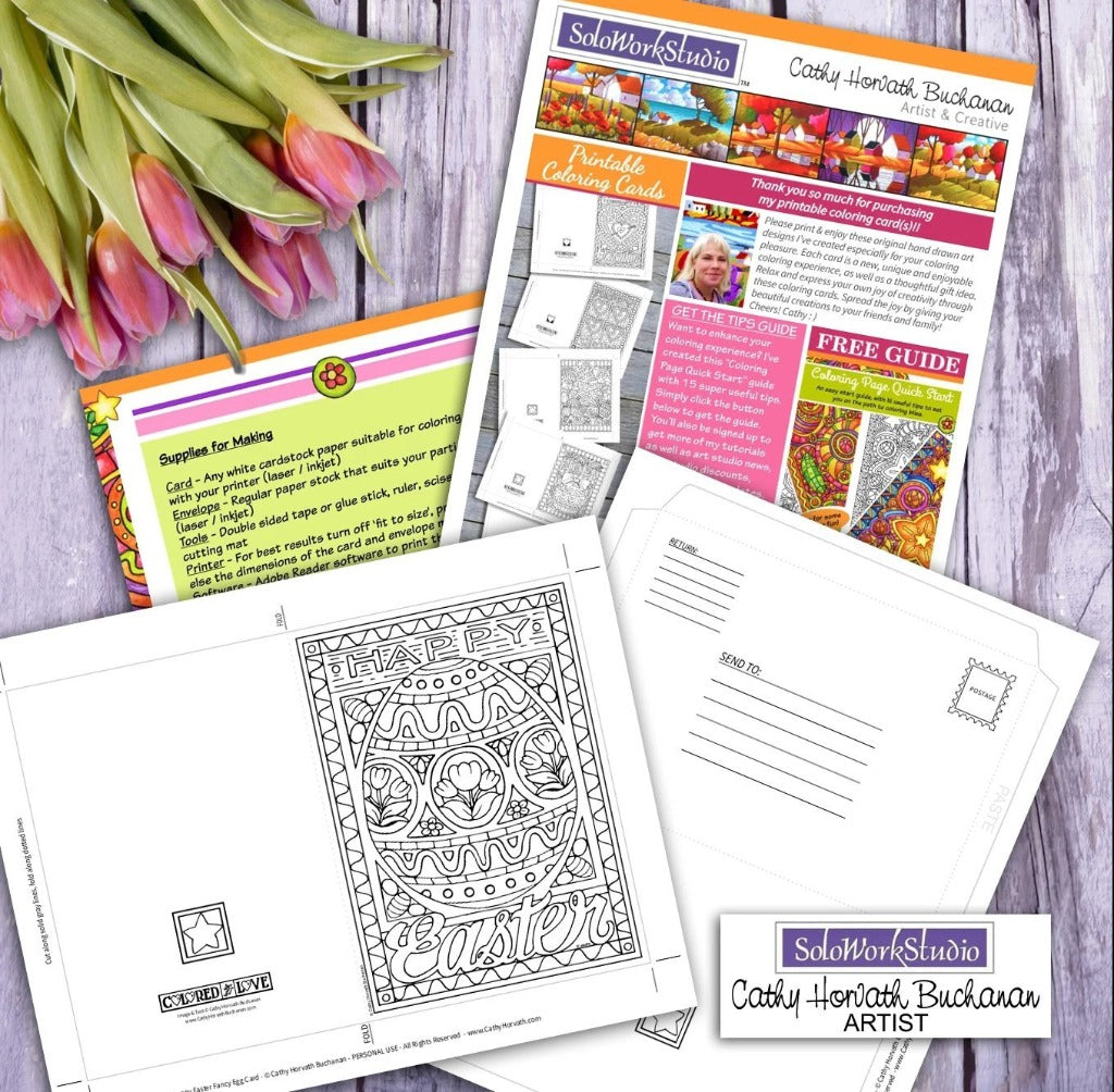 Fancy Easter Egg Coloring Kit, Card + Envelope, PDF Download Printable