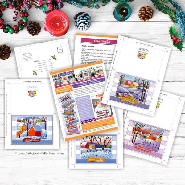 Christmas Printable Cards Set of 4 Kit, PDF Instant Download