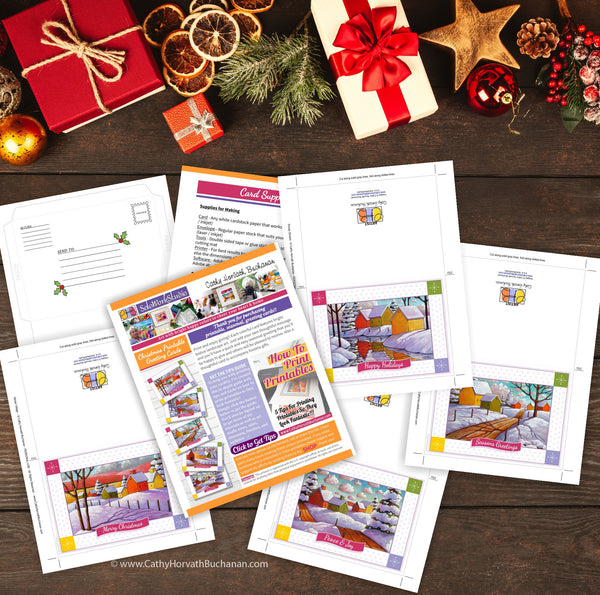Christmas Scenes Printable Cards Set of 5 Kit, PDF Instant Download