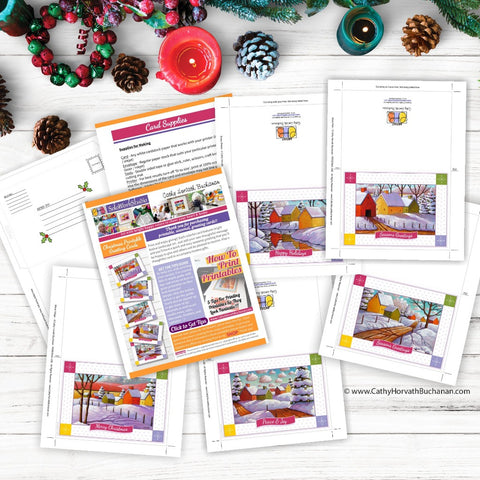 Christmas Printable Cards Set of 4 Kit, PDF Instant Download by Cathy Horvath Buchanan