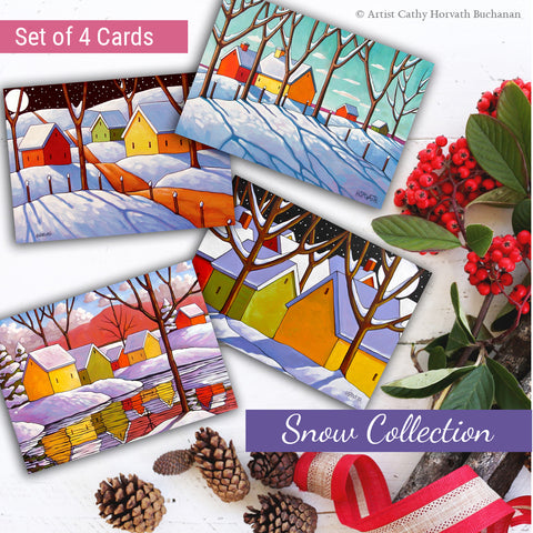 Snowy Scenes Art Cards, 5x7 Greeting Cards, Set of 4