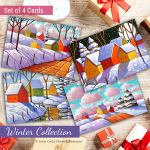 Winter Scenes Art Cards, 5x7 Greeting Cards, Physical Set of 4