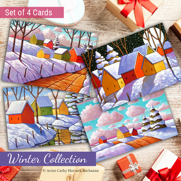 Winter Scenes Art Cards, 5x7 Greeting Cards, Set of 4