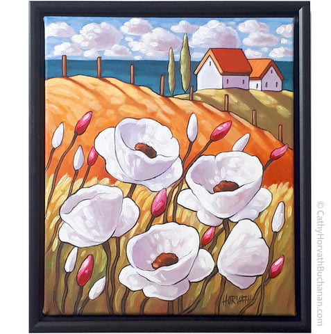 Coastal Cottages White Flowers Framed Original Painting, Seascape 10x12 by artist Cathy Horvath Buchanan