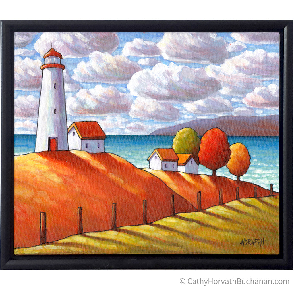 Coastal Lighthouse Cottage View Framed Original Painting, Seascape 10x12 by artist Cathy Horvath Buchanan