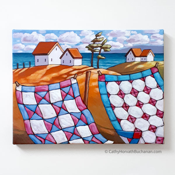 Coastal Windy Quilt Line, Framed Original Painting 12x16Coastal Windy Quilt Line, Framed Original Painting 12x16 by artist Cathy Horvath Buchanan