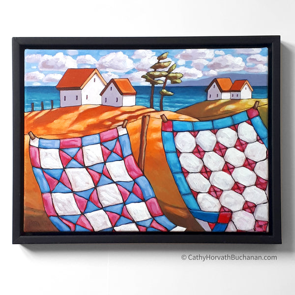 Coastal Windy Quilt Line, Framed Original Painting 12x16 by artist Cathy Horvath Buchanan